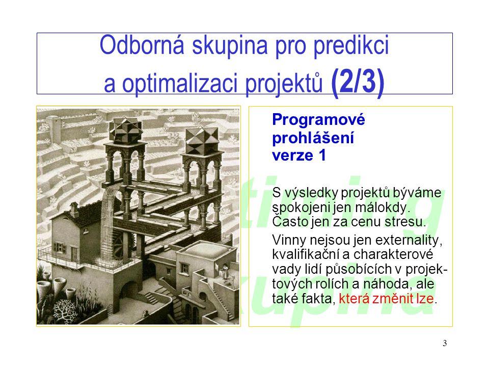 www.timing.cz/skupina 3 Odborná skupina pro predikci a optimalizaci projektů (2/3) Programové prohlášení verze 1 S výsledky projektů býváme spokojeni jen málokdy.