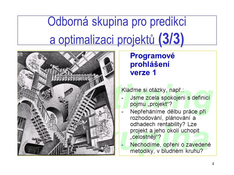 www.timing.cz/skupina 4 Odborná skupina pro predikci a optimalizaci projektů (3/3) Programové prohlášení verze 1 Klaďme si otázky, např.: - Jsme zcela