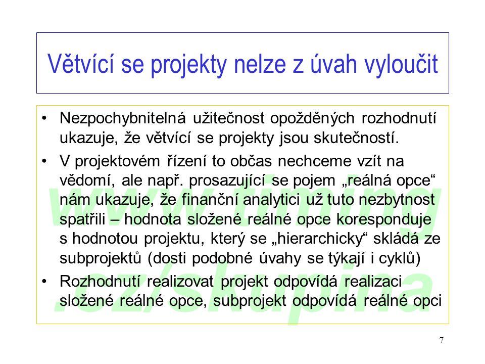 www.timing.cz/skupina 7 Větvící se projekty nelze z úvah vyloučit •Nezpochybnitelná užitečnost opožděných rozhodnutí ukazuje, že větvící se projekty j