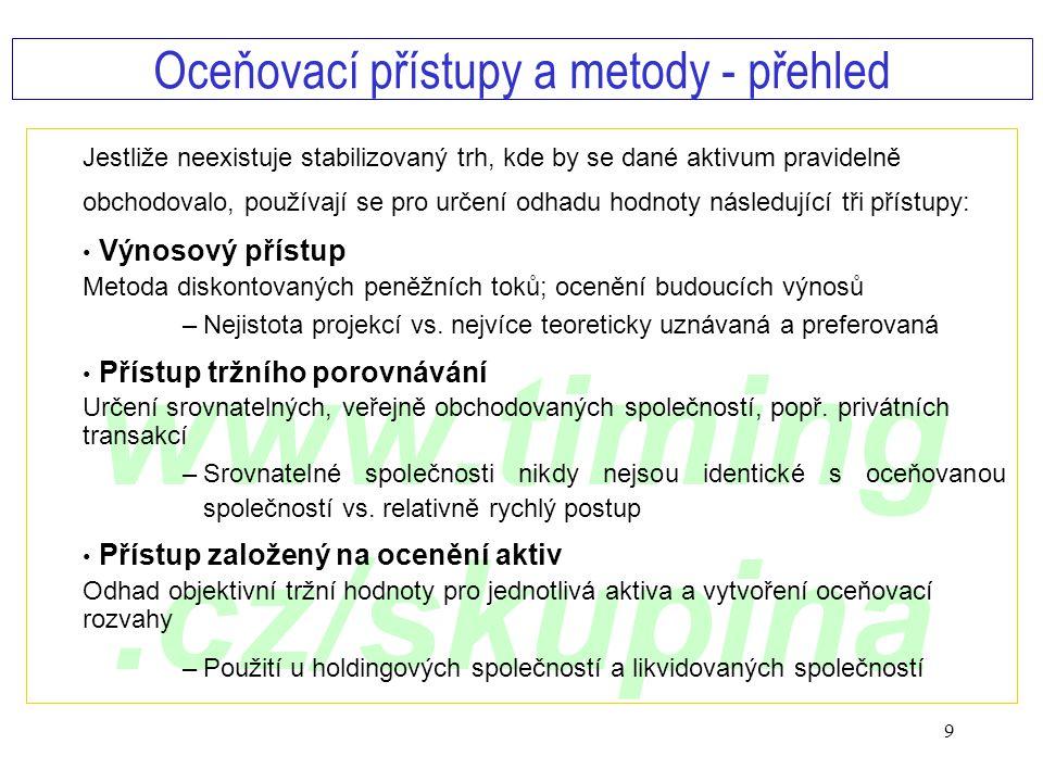 www.timing.cz/skupina 9 Jestliže neexistuje stabilizovaný trh, kde by se dané aktivum pravidelně obchodovalo, používají se pro určení odhadu hodnoty n