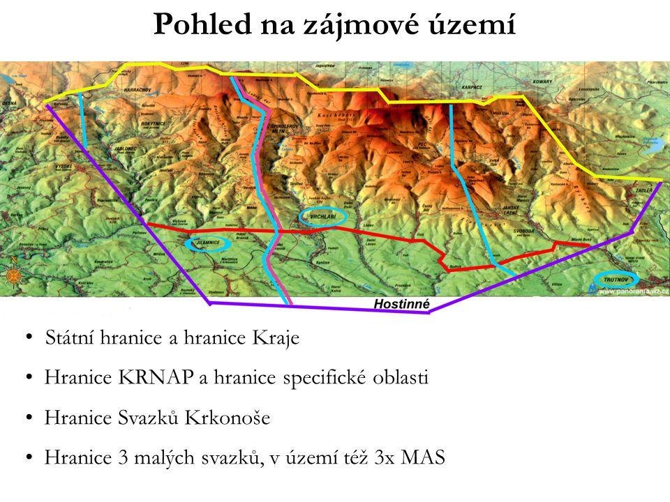 Pohled na zájmové území • Státní hranice a hranice Kraje • Hranice KRNAP a hranice specifické oblasti • Hranice Svazků Krkonoše • Hranice 3 malých svazků, v území též 3x MAS