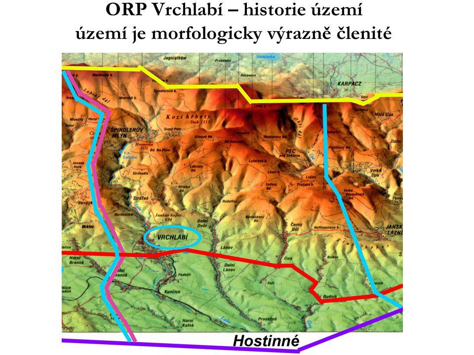 ORP Vrchlabí – historie území Rok 1945 – 1990 •Sudety, dosídlení, byla práce •slučování obcí, slučování ZŠ •spolk.