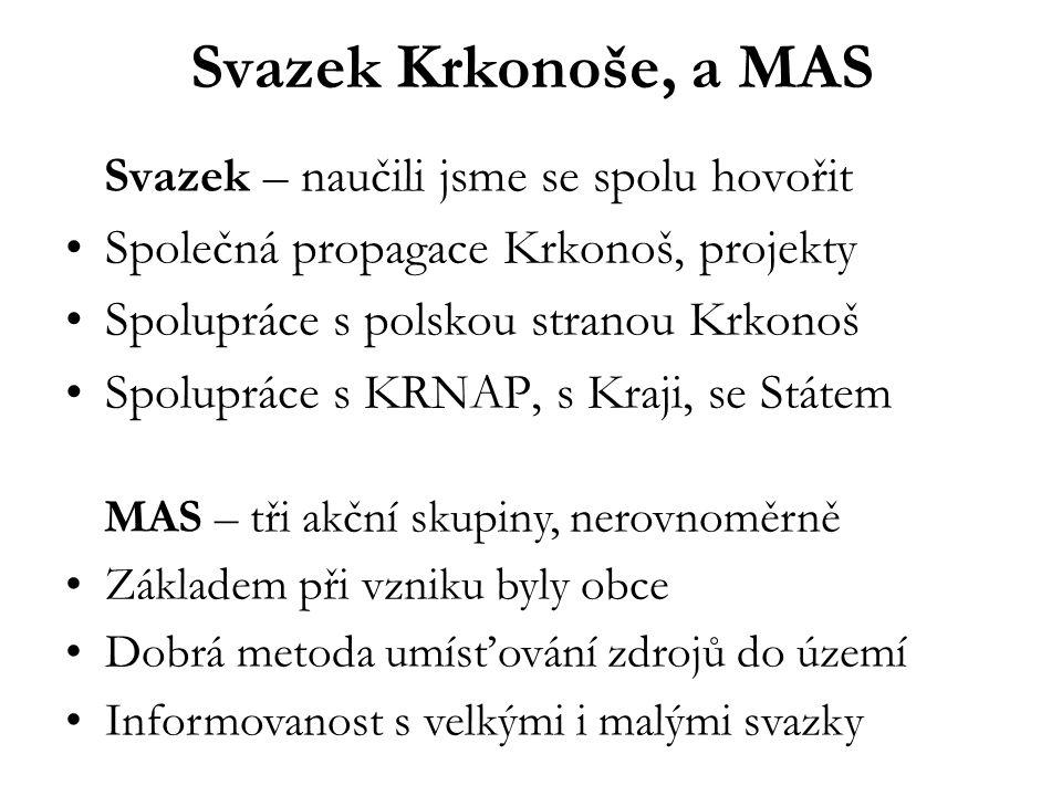 Svazek Krkonoše, a MAS Svazek – naučili jsme se spolu hovořit •Společná propagace Krkonoš, projekty •Spolupráce s polskou stranou Krkonoš •Spolupráce s KRNAP, s Kraji, se Státem MAS – tři akční skupiny, nerovnoměrně •Základem při vzniku byly obce •Dobrá metoda umísťování zdrojů do území •Informovanost s velkými i malými svazky