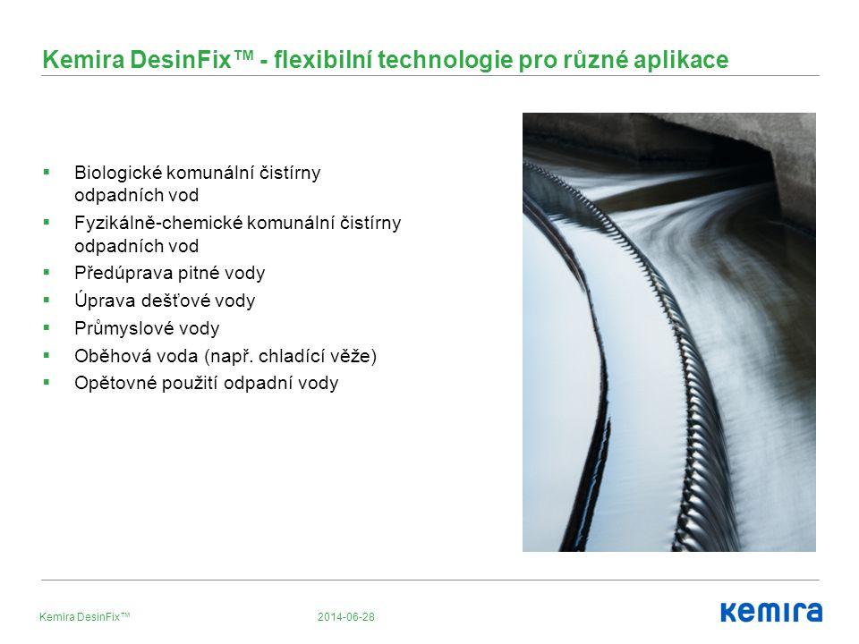 2014-06-28Kemira DesinFix™ Kemira DesinFix™ - flexibilní technologie pro různé aplikace  Biologické komunální čistírny odpadních vod  Fyzikálně-chemické komunální čistírny odpadních vod  Předúprava pitné vody  Úprava dešťové vody  Průmyslové vody  Oběhová voda (např.