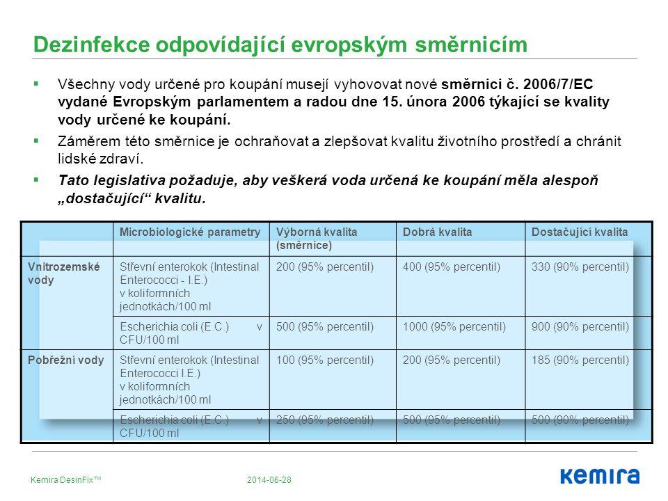2014-06-28Kemira DesinFix™ Dezinfekce odpovídající evropským směrnicím  Všechny vody určené pro koupání musejí vyhovovat nové směrnici č. 2006/7/EC v
