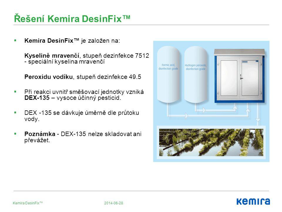 2014-06-28Kemira DesinFix™  Kemira DesinFix™ je založen na: Kyselině mravenčí, stupeň dezinfekce 7512 - speciální kyselina mravenčí Peroxidu vodíku, stupeň dezinfekce 49.5  Při reakci uvnitř směšovací jednotky vzniká DEX-135 – vysoce účinný pesticid.