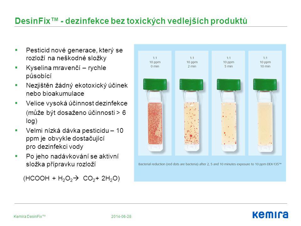 2014-06-28Kemira DesinFix™ DesinFix™ - dezinfekce bez toxických vedlejších produktů  Pesticid nové generace, který se rozloží na neškodné složky  Kyselina mravenčí – rychle působící  Nezjištěn žádný ekotoxický účinek nebo bioakumulace  Velice vysoká účinnost dezinfekce (může být dosaženo účinnosti > 6 log)  Velmi nízká dávka pesticidu – 10 ppm je obvykle dostačující pro dezinfekci vody  Po jeho nadávkování se aktivní složka přípravku rozloží (HCOOH + H 2 O 2  CO 2 + 2H 2 O)