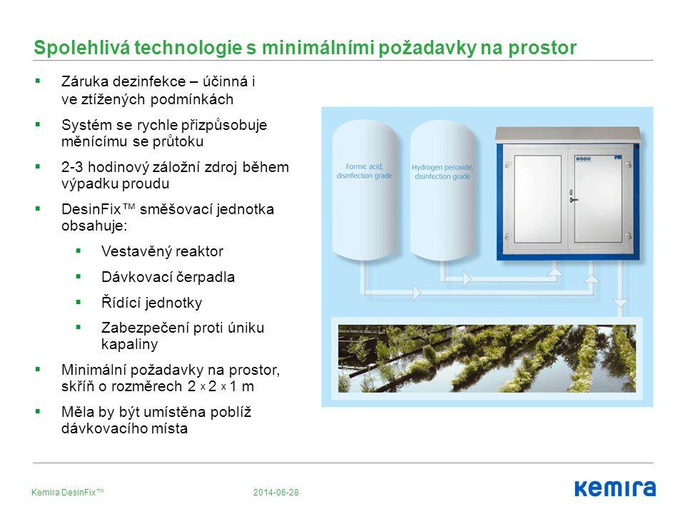 2014-06-28Kemira DesinFix™ Spolehlivá technologie s minimálními požadavky na prostor  Záruka dezinfekce – účinná i ve ztížených podmínkách  Systém se rychle přizpůsobuje měnícímu se průtoku  2-3 hodinový záložní zdroj během výpadku proudu  DesinFix™ směšovací jednotka obsahuje:  Vestavěný reaktor  Dávkovací čerpadla  Řídící jednotky  Zabezpečení proti úniku kapaliny  Minimální požadavky na prostor, skříň o rozměrech 2 x 2 x 1 m  Měla by být umístěna poblíž dávkovacího místa