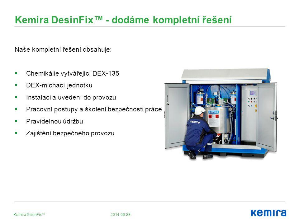 Kemira DesinFix™ - dodáme kompletní řešení Naše kompletní řešení obsahuje:  Chemikálie vytvářející DEX-135  DEX-míchací jednotku  Instalaci a uvede