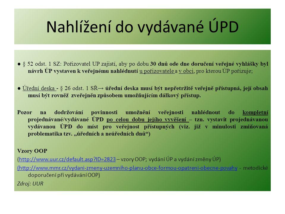 Nahlížení do vydávané ÚPD ● § 52 odst. 1 SZ: Pořizovatel UP zajistí, aby po dobu 30 dnů ode dne doručení veřejné vyhlášky byl návrh ÚP vystaven k veře