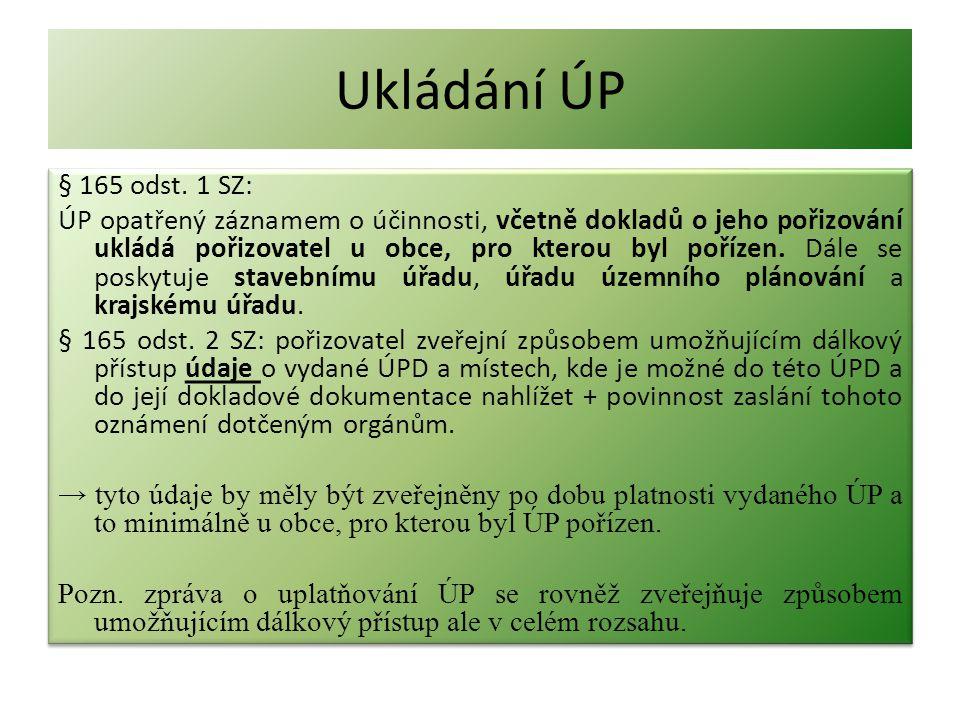 Ukládání ÚP § 165 odst. 1 SZ: ÚP opatřený záznamem o účinnosti, včetně dokladů o jeho pořizování ukládá pořizovatel u obce, pro kterou byl pořízen. Dá