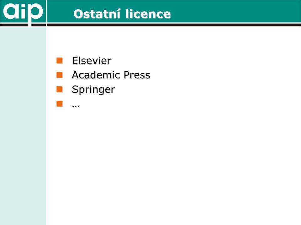 Ostatní licence  Elsevier  Academic Press  Springer …………