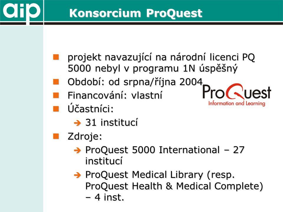 Konsorcium ProQuest  projekt navazující na národní licenci PQ 5000 nebyl v programu 1N úspěšný  Období: od srpna/října 2004  Financování: vlastní  Účastníci:  31 institucí  Zdroje:  ProQuest 5000 International – 27 institucí  ProQuest Medical Library (resp.