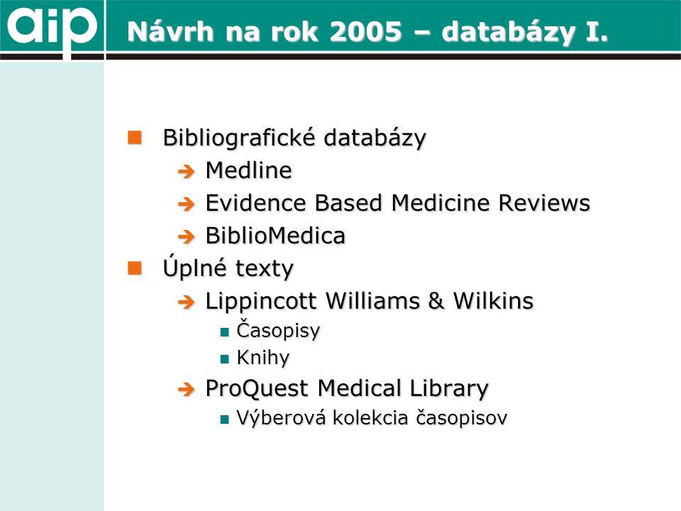 Návrh na rok 2005 – databázy I.  Bibliografické databázy  Medline  Evidence Based Medicine Reviews  BiblioMedica  Úplné texty  Lippincott Willia