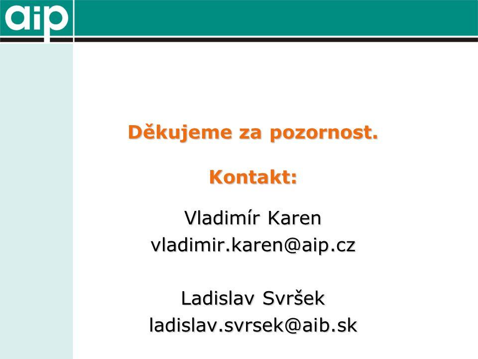 Děkujeme za pozornost. Kontakt: Vladimír Karen vladimir.karen@aip.cz Ladislav Svršek ladislav.svrsek@aib.sk