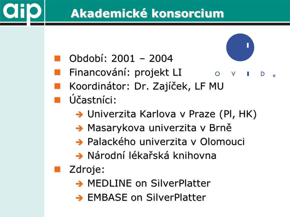 Akademické konsorcium  Období: 2001 – 2004  Financování: projekt LI  Koordinátor: Dr. Zajíček, LF MU  Účastníci:  Univerzita Karlova v Praze (Pl,