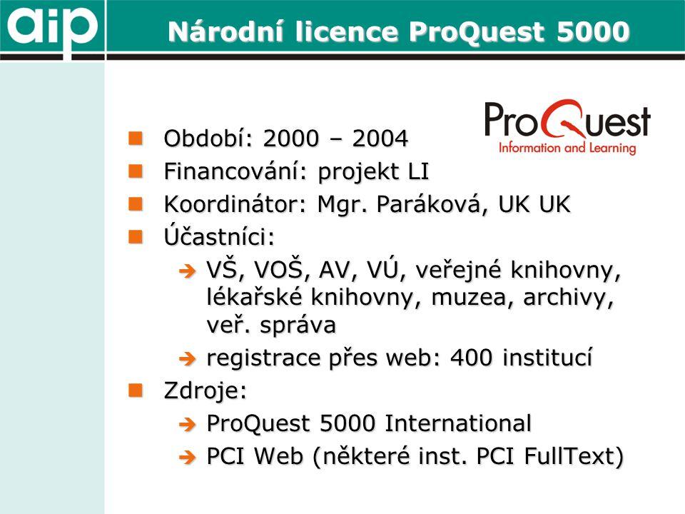 Národní licence ProQuest 5000  Období: 2000 – 2004  Financování: projekt LI  Koordinátor: Mgr. Paráková, UK UK  Účastníci:  VŠ, VOŠ, AV, VÚ, veře