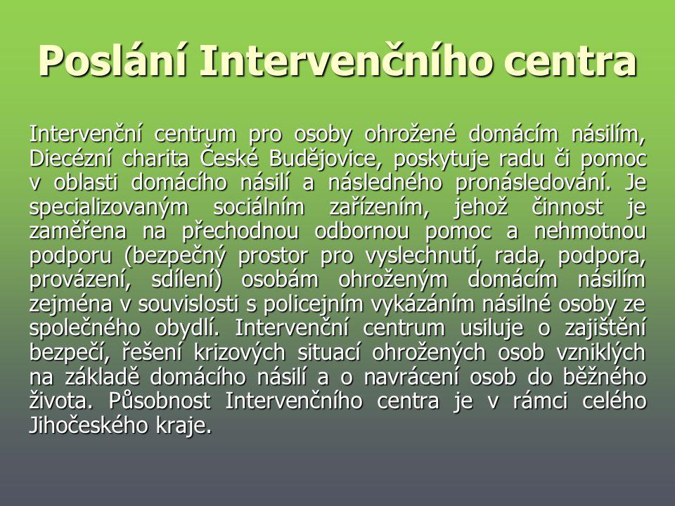 Poslání Intervenčního centra Intervenční centrum pro osoby ohrožené domácím násilím, Diecézní charita České Budějovice, poskytuje radu či pomoc v obla
