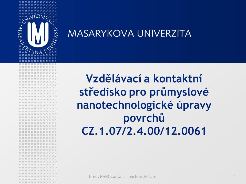 Brno: NANOcontact – partnerské sítě1 Vzdělávací a kontaktní středisko pro průmyslové nanotechnologické úpravy povrchů CZ.1.07/2.4.00/12.0061