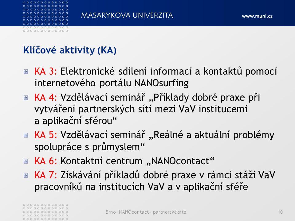 """Klíčové aktivity (KA) KA 3: Elektronické sdílení informací a kontaktů pomocí internetového portálu NANOsurfing KA 4: Vzdělávací seminář """"Příklady dobré praxe při vytváření partnerských sítí mezi VaV institucemi a aplikační sférou KA 5: Vzdělávací seminář """"Reálné a aktuální problémy spolupráce s průmyslem KA 6: Kontaktní centrum """"NANOcontact KA 7: Získávání příkladů dobré praxe v rámci stáží VaV pracovníků na institucích VaV a v aplikační sféře Brno: NANOcontact – partnerské sítě10"""