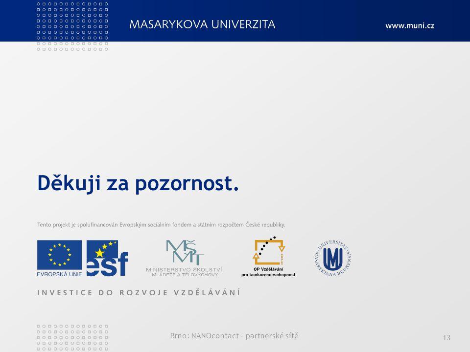 13 Děkuji za pozornost. Brno: NANOcontact – partnerské sítě