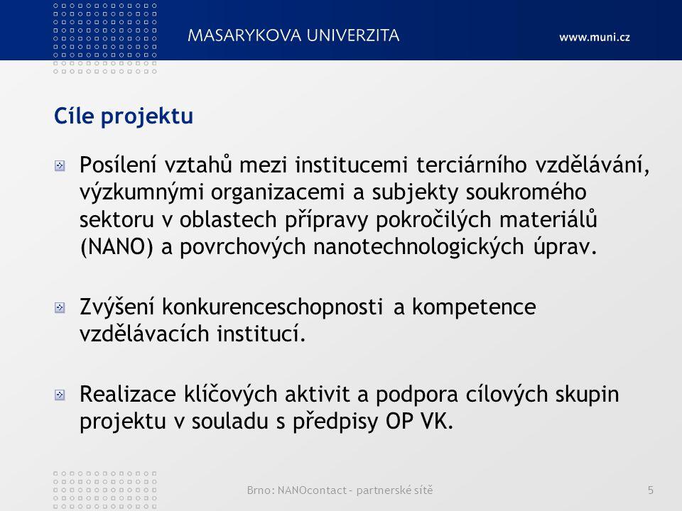 Cíle projektu Posílení vztahů mezi institucemi terciárního vzdělávání, výzkumnými organizacemi a subjekty soukromého sektoru v oblastech přípravy pokročilých materiálů (NANO) a povrchových nanotechnologických úprav.