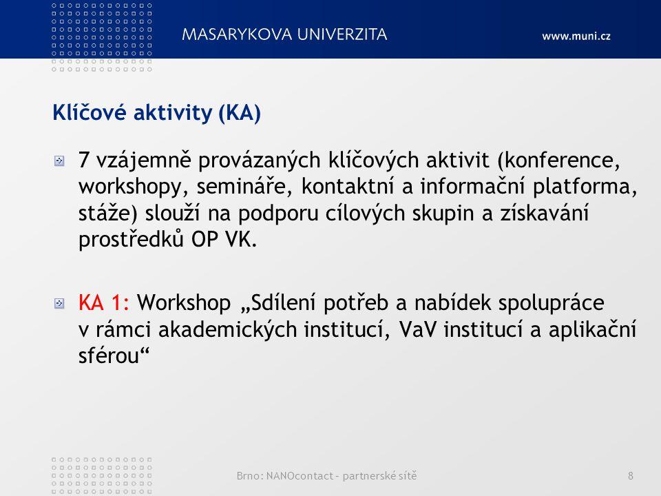 Klíčové aktivity (KA) 7 vzájemně provázaných klíčových aktivit (konference, workshopy, semináře, kontaktní a informační platforma, stáže) slouží na podporu cílových skupin a získavání prostředků OP VK.