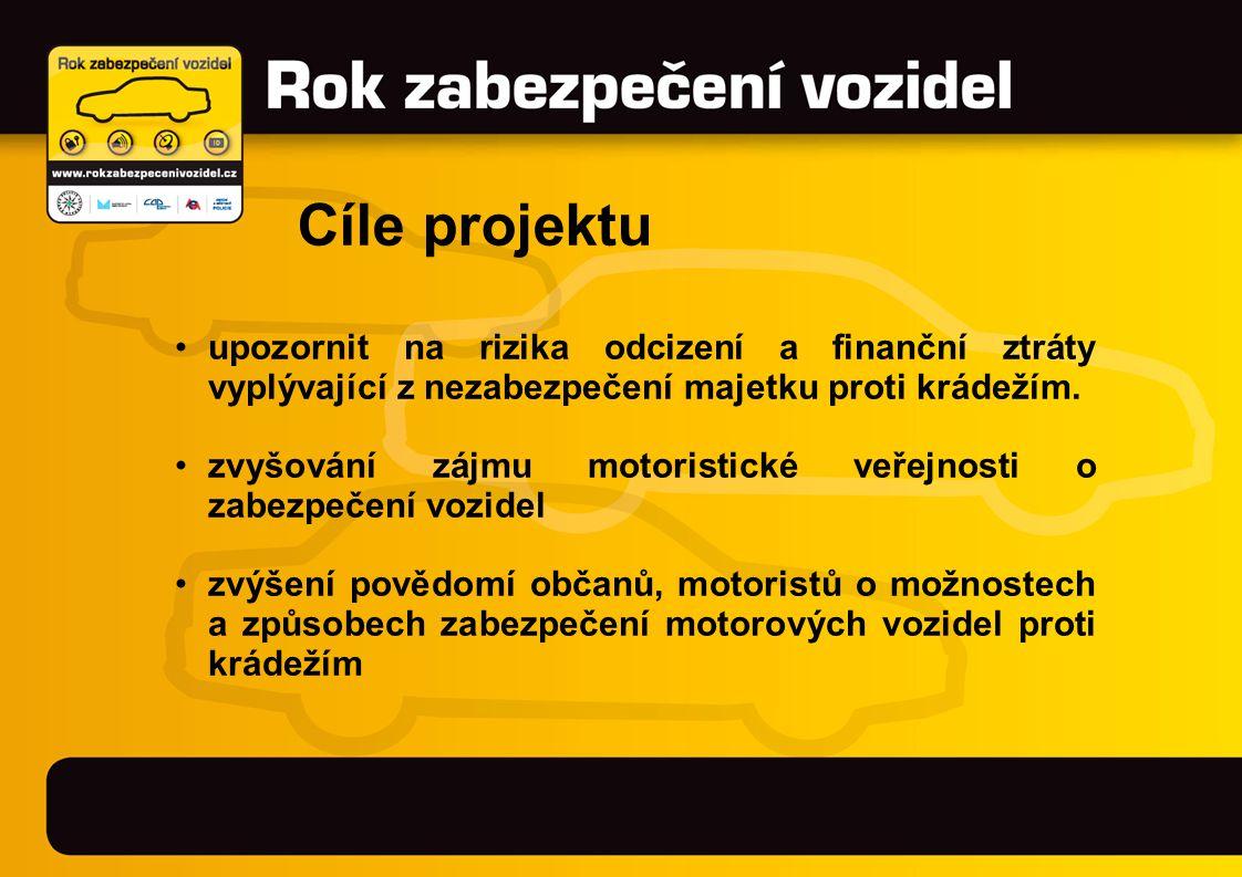 •usnadnění výběru vhodného typu zabezpečení •podpora aktivit výrobců a dodavatelů zabezpečovacích systémů a prodejců vozidel, ve vztahu k prevenci krádeží vozidel •snížení škod v důsledku krádeží vozidel Cíle projektu