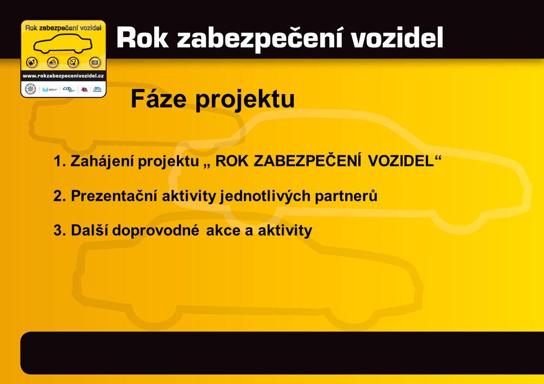 """1.Zahájení projektu """" ROK ZABEZPEČENÍ VOZIDEL 2.Prezentační aktivity jednotlivých partnerů 3.Další doprovodné akce a aktivity Fáze projektu"""