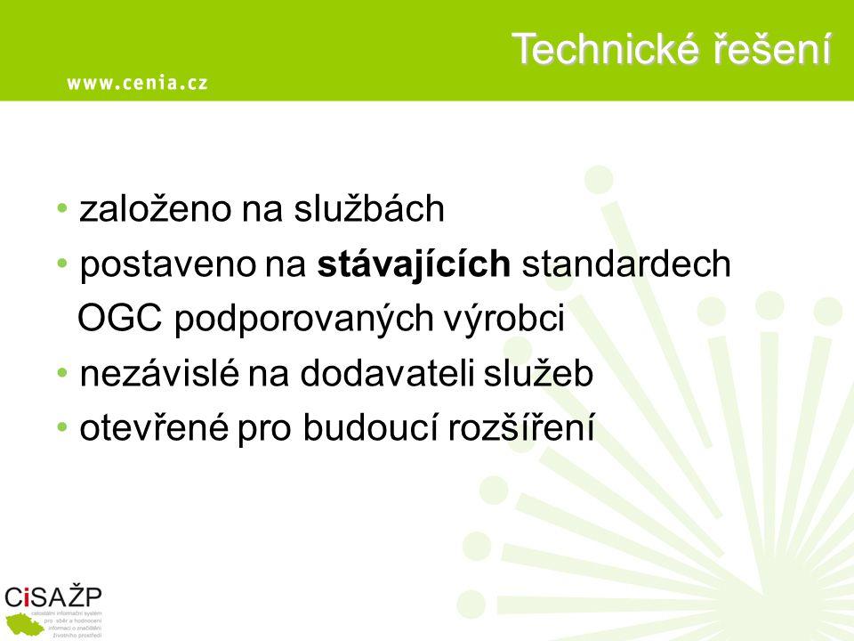 Technické řešení • založeno na službách • postaveno na stávajících standardech OGC podporovaných výrobci • nezávislé na dodavateli služeb • otevřené pro budoucí rozšíření