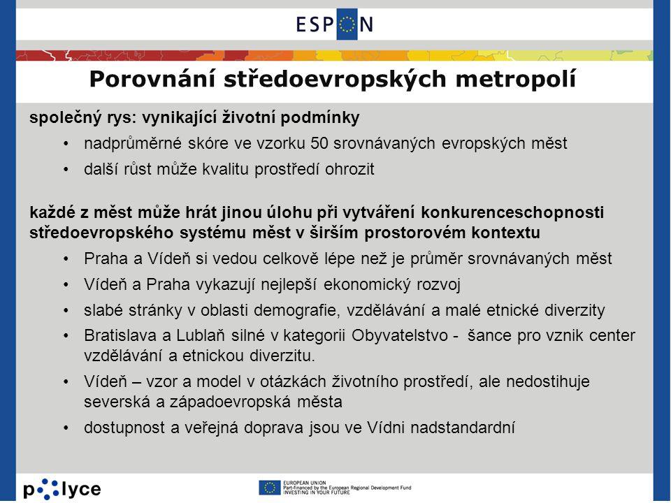 Porovnání středoevropských metropolí společný rys: vynikající životní podmínky •nadprůměrné skóre ve vzorku 50 srovnávaných evropských měst •další růs