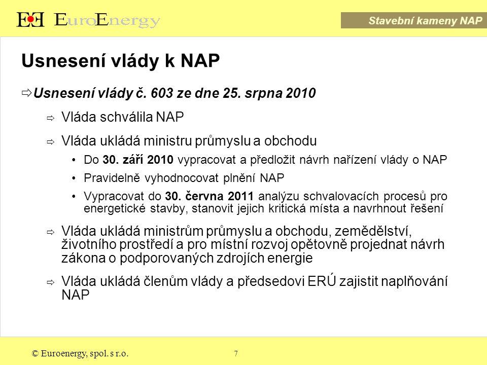 Stavební kameny NAP © Euroenergy, spol. s r.o. 7 Usnesení vlády k NAP  Usnesení vlády č.