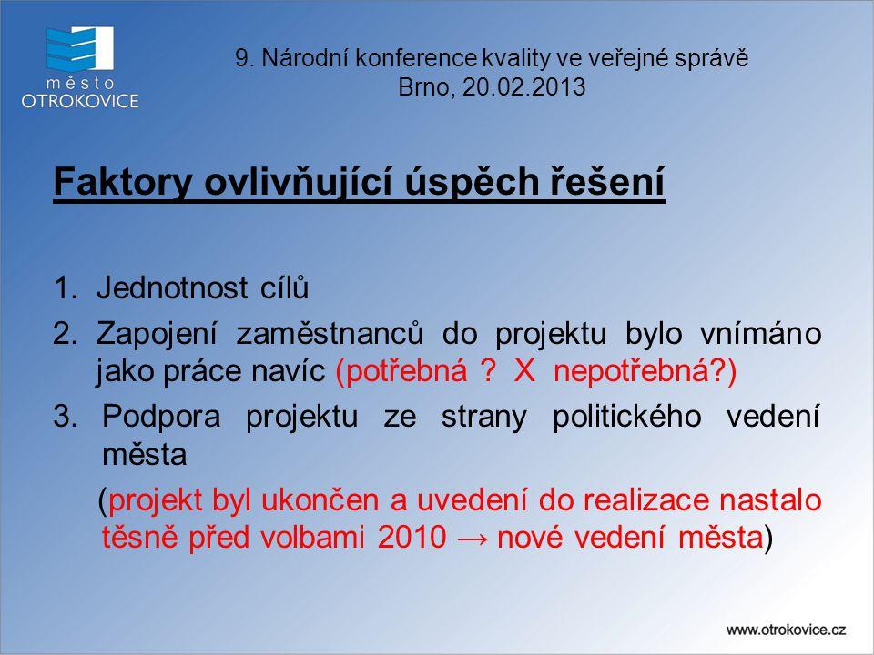 Faktory ovlivňující úspěch řešení 1.Jednotnost cílů 2.Zapojení zaměstnanců do projektu bylo vnímáno jako práce navíc (potřebná ? X nepotřebná?) 3.Podp