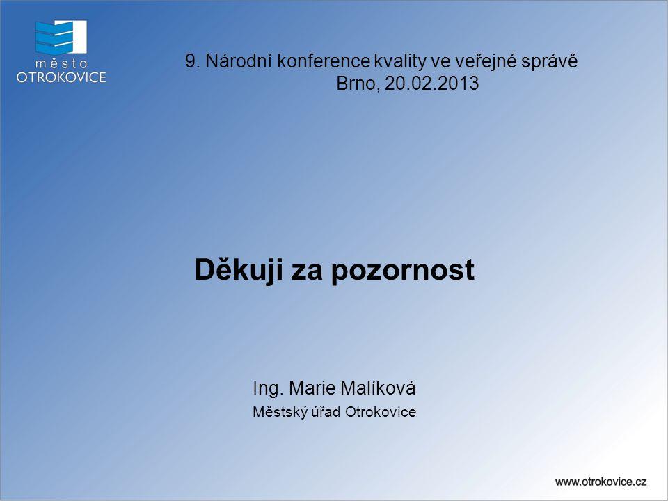 Děkuji za pozornost Ing. Marie Malíková Městský úřad Otrokovice
