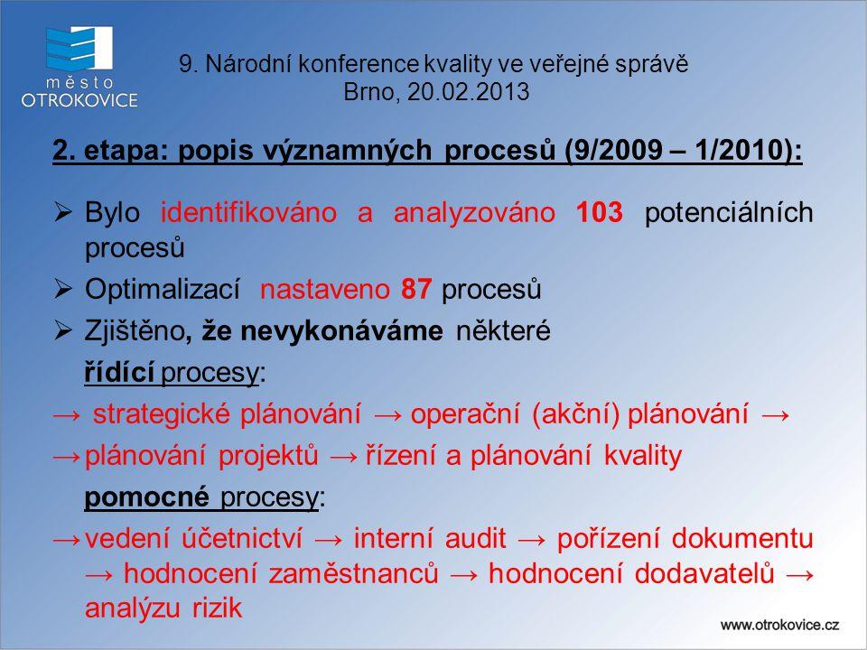 2. etapa: popis významných procesů (9/2009 – 1/2010):  Bylo identifikováno a analyzováno 103 potenciálních procesů  Optimalizací nastaveno 87 proces