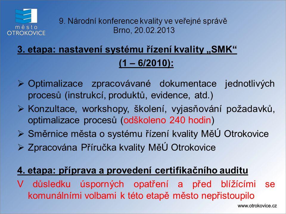 """9. Národní konference kvality ve veřejné správě Brno, 20.02.2013 3. etapa: nastavení systému řízení kvality """"SMK"""" (1 – 6/2010):  Optimalizace zpracov"""