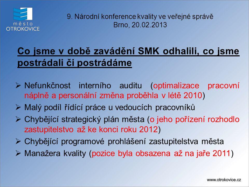Co jsme v době zavádění SMK odhalili, co jsme postrádali či postrádáme  Nefunkčnost interního auditu (optimalizace pracovní náplně a personální změna