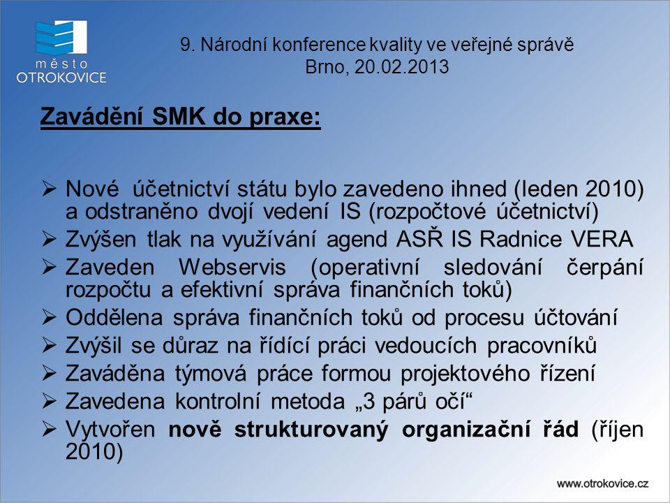 Zavádění SMK do praxe:  Nové účetnictví státu bylo zavedeno ihned (leden 2010) a odstraněno dvojí vedení IS (rozpočtové účetnictví)  Zvýšen tlak na