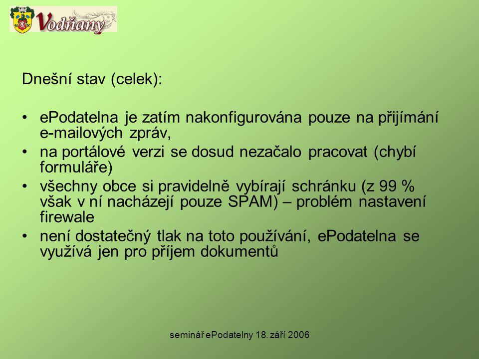 seminář ePodatelny 18. září 2006 Dnešní stav (celek): •ePodatelna je zatím nakonfigurována pouze na přijímání e-mailových zpráv, •na portálové verzi s