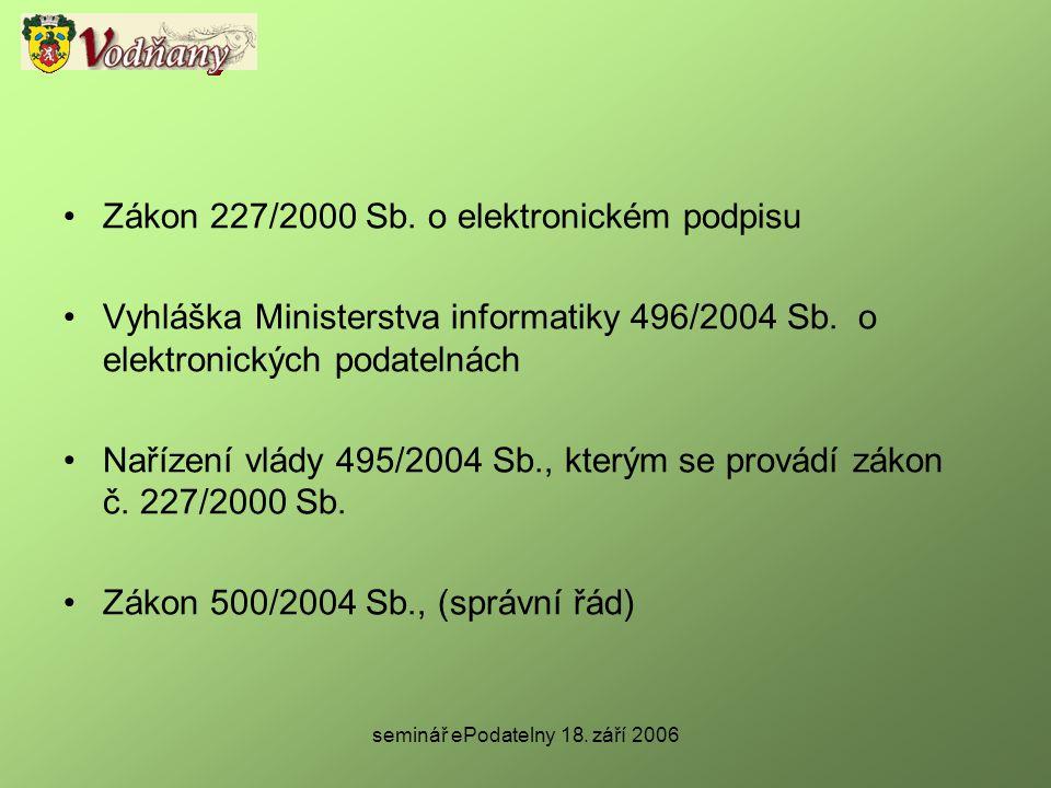 seminář ePodatelny 18. září 2006 •Zákon 227/2000 Sb. o elektronickém podpisu •Vyhláška Ministerstva informatiky 496/2004 Sb. o elektronických podateln