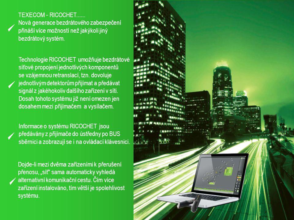 TEXECOM - RICOCHET...... Nová generace bezdrátového zabezpečení přináší více možností než jakýkoli jiný bezdrátový systém. Technologie RICOCHET umožňu