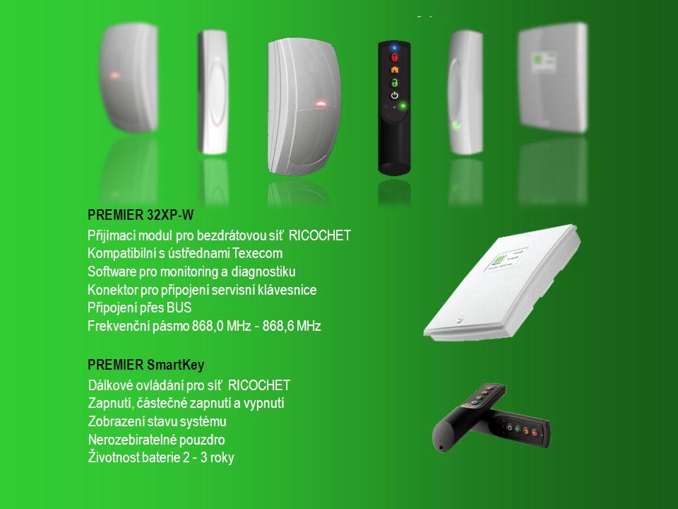 PRESTIGE QD-W, digitální Quad PIR Detektor pro bezdrátovou síť RICOCHET Dosah 15 m, prostorové pokrytí Životnost baterie 2 - 3 roky PRESTIGE XT-W, digitální PIR Detektor pro bezdrátovou síť RICOCHET Dosah 15 m, prostorové pokrytí Životnost baterie 2 - 3 roky IMPAQ PLUS-W, otřesový detektor s magnetickým kontaktem Nastavení dosahu a citlivosti Vyřazení mag.
