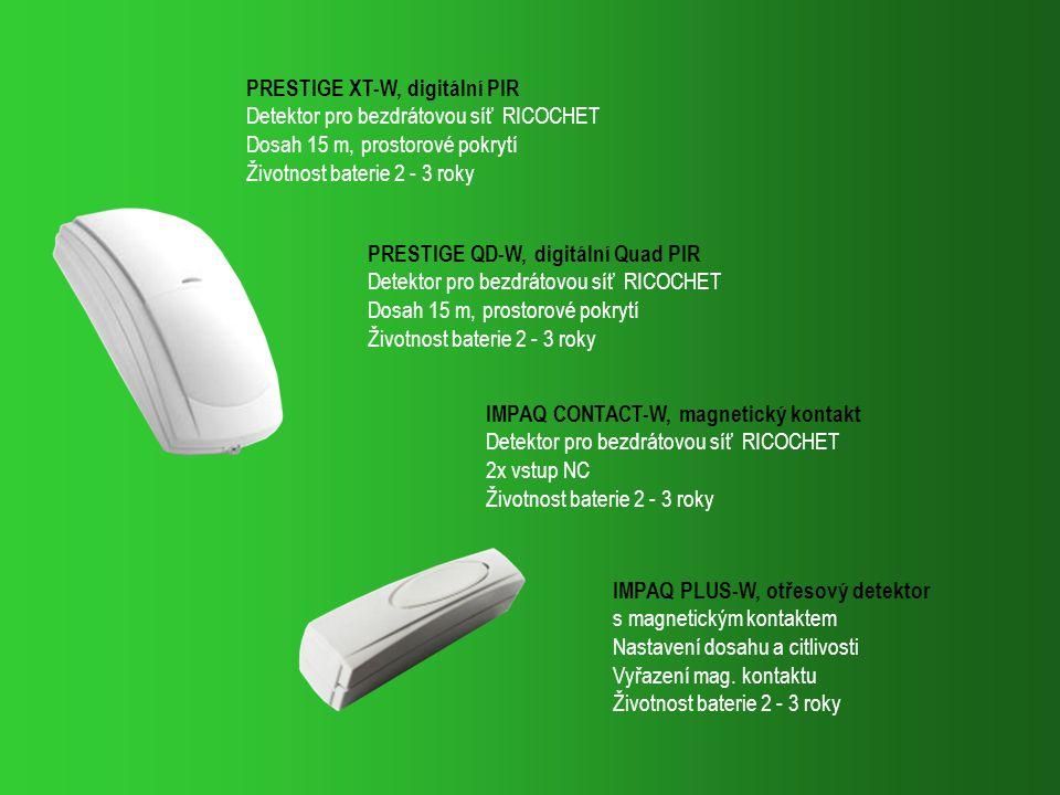 PRESTIGE QD-W, digitální Quad PIR Detektor pro bezdrátovou síť RICOCHET Dosah 15 m, prostorové pokrytí Životnost baterie 2 - 3 roky PRESTIGE XT-W, dig