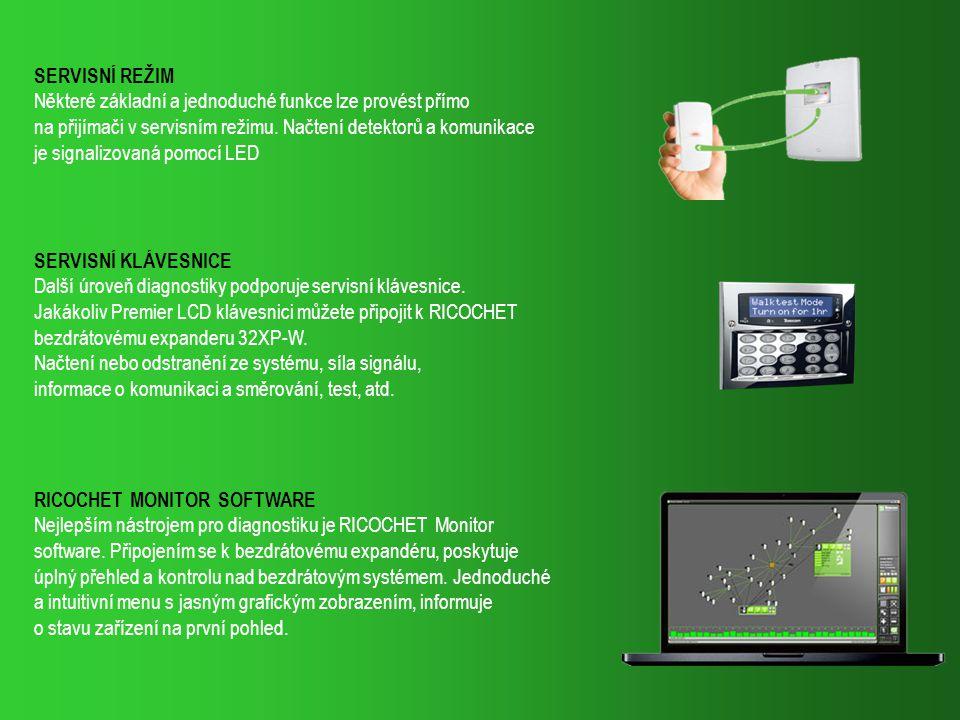 SERVISNÍ KLÁVESNICE Další úroveň diagnostiky podporuje servisní klávesnice. Jakákoliv Premier LCD klávesnici můžete připojit k RICOCHET bezdrátovému e