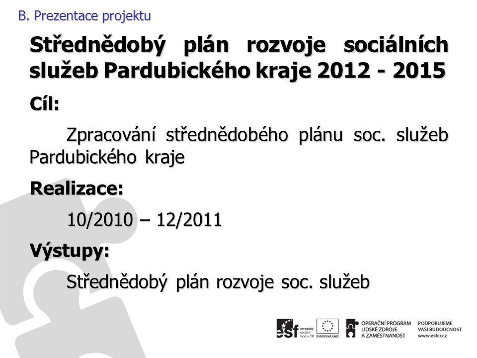 B. Prezentace projektu Střednědobý plán rozvoje sociálních služeb Pardubického kraje 2012 - 2015 Cíl: Zpracování střednědobého plánu soc. služeb Pardu