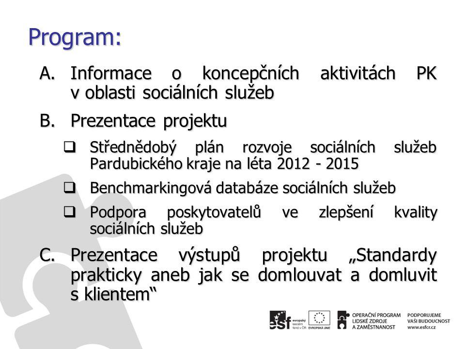 """Program: A.Informace o koncepčních aktivitách PK v oblasti sociálních služeb B.Prezentace projektu  Střednědobý plán rozvoje sociálních služeb Pardubického kraje na léta 2012 - 2015  Benchmarkingová databáze sociálních služeb  Podpora poskytovatelů ve zlepšení kvality sociálních služeb C.Prezentace výstupů projektu """"Standardy prakticky aneb jak se domlouvat a domluvit s klientem"""