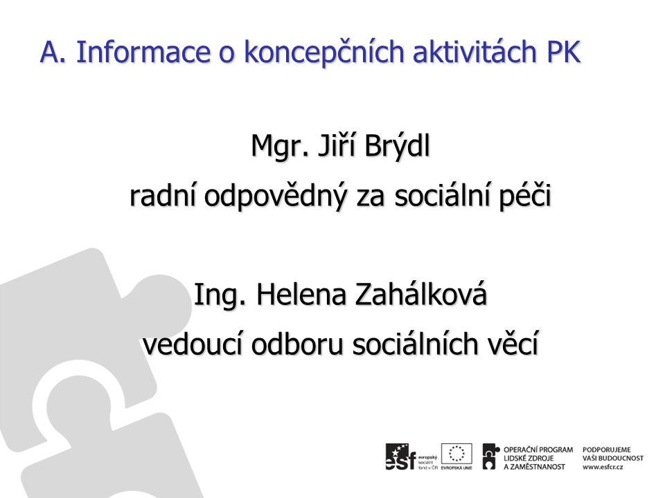A. Informace o koncepčních aktivitách PK Mgr. Jiří Brýdl radní odpovědný za sociální péči Ing.
