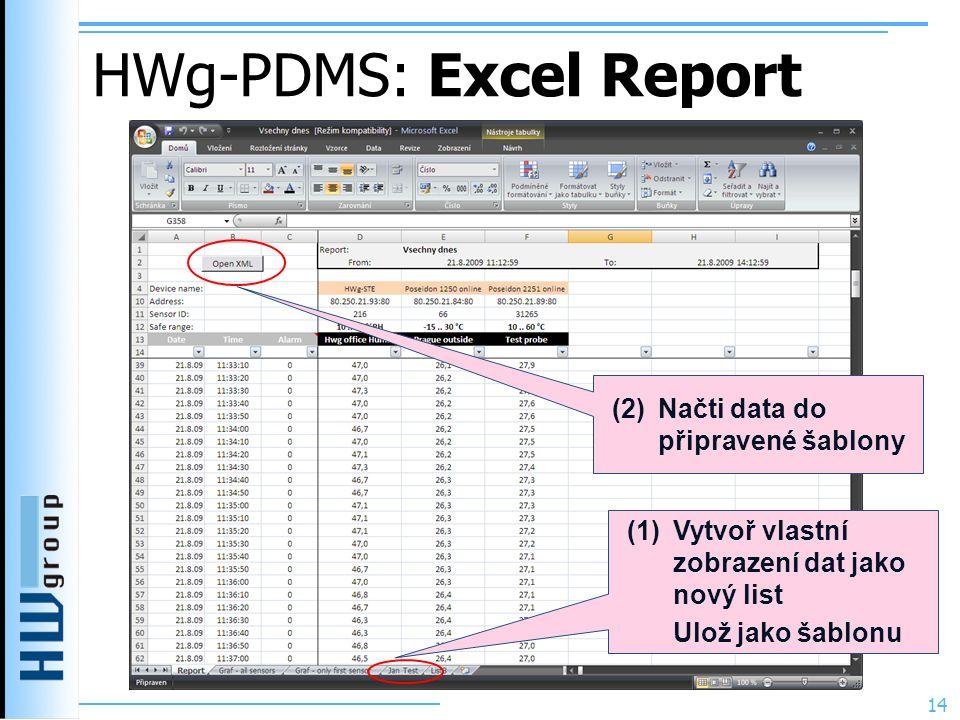 HWg-PDMS: Excel Report 14 (1) Vytvoř vlastní zobrazení dat jako nový list Ulož jako šablonu (2) Načti data do připravené šablony