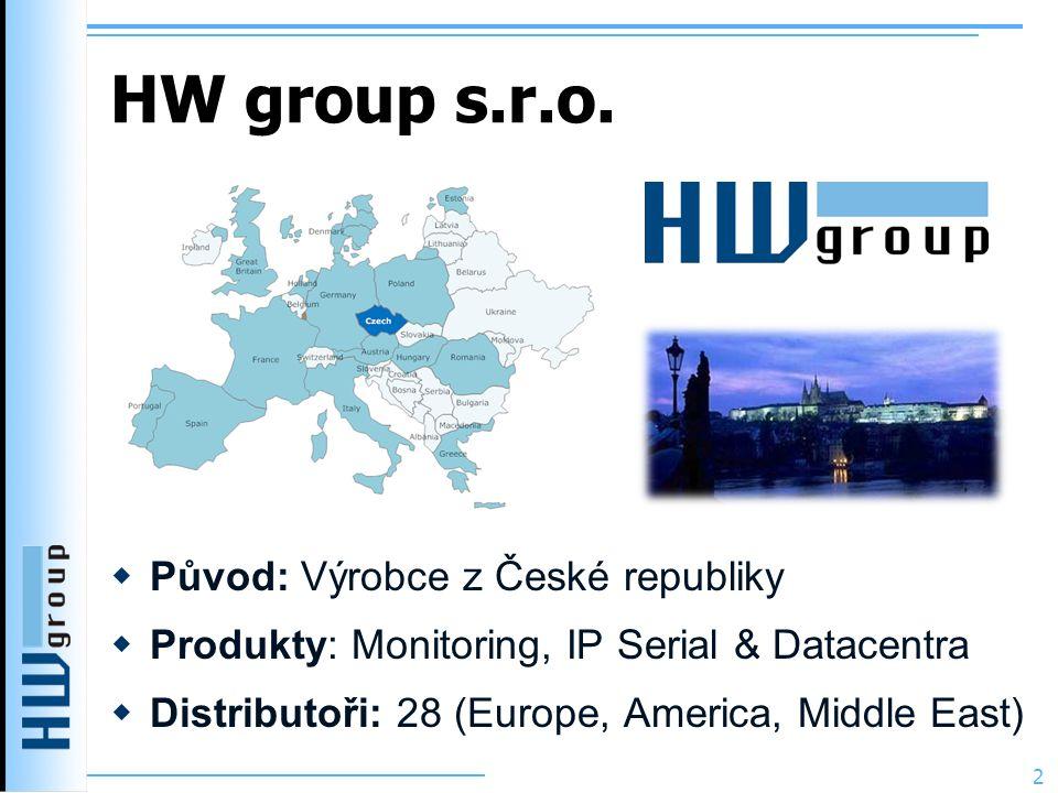 HW group s.r.o.  Původ: Výrobce z České republiky  Produkty: Monitoring, IP Serial & Datacentra  Distributoři: 28 (Europe, America, Middle East) 2