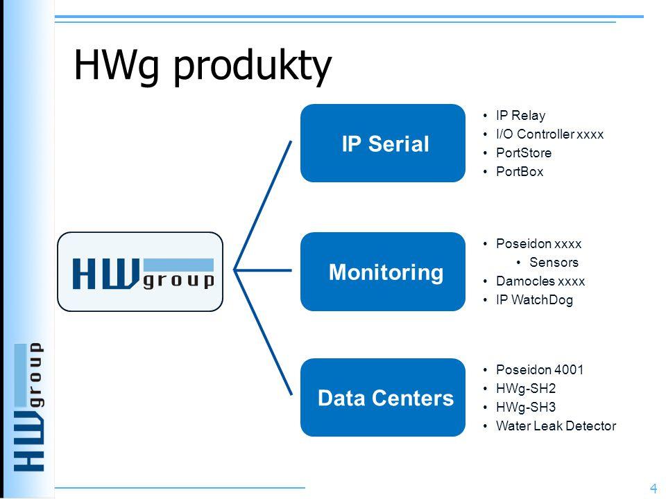 HWg produkty 4 IP Serial Monitoring Data Centers •Poseidon 4001 •HWg-SH2 •HWg-SH3 •Water Leak Detector •Poseidon xxxx •Sensors •Damocles xxxx •IP WatchDog •IP Relay •I/O Controller xxxx •PortStore •PortBox